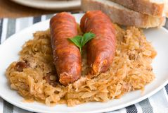 Chorizo sausages with cabbage Royalty Free Stock Images