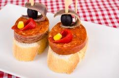 Chorizo tapa Stock Afbeelding