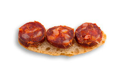 Chorizo tapa on white Stock Photo