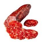 Chorizo worst in plakken, close-up wordt gesneden dat stock afbeelding