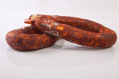 Chorizos traités par rouge Photos stock