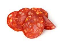 Chorizoscheiben lizenzfreies stockfoto