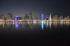 Chornich sharjah view at Night Royalty Free Stock Image