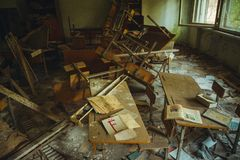Chornobyl exclusion zone. Radioactive zone in Pripyat city - abandoned ghost town. Chernobyl history of catastrophe royalty free stock photography