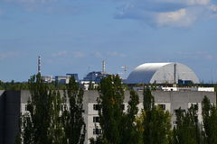 Chornobyl nuclear plant and sarcophagus, Chornobyl zone Stock Image