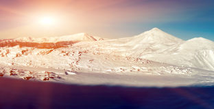 Chornohora, highest mountain range in Ukrainian Carpathians. Pan. Orama royalty free stock photo