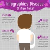 Choroba mężczyzna toalety infographics ilustracji