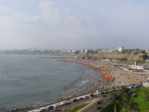从Chorrillos的利马海湾视图 免版税图库摄影