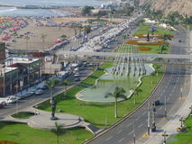 Chorrillos view of a fountain, a highway and the sea Stock Photography