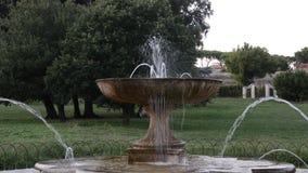 Chorros de agua de la fuente retra antigua vieja entre las plantas en el parque almacen de video