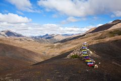 Chorten at the Charka Pass in Dolpo region, Nepal Stock Photo