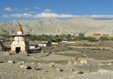 Chorten at the entrance of Tsarang village Stock Photos