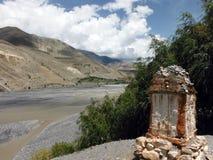 Chorten near River Delta and Himalayas Stock Photos