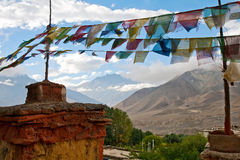 The Chorten and prayer flags Stock Images