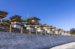 108 chortens. (or choertens or stupas) have been erected at Bhutan's Dochula Pass, at a height of 3100m Stock Image