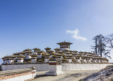 108 chortens. (or choertens or stupas) have been erected at Bhutan's Dochula Pass, at a height of 3100m Stock Photos
