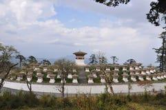 108 Chortens Dochula通行证,不丹 库存照片