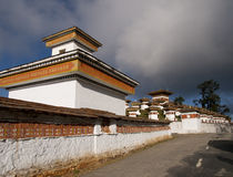 The 108 chortens on the Dochula Pass between Punakha and Thimpu Stock Image