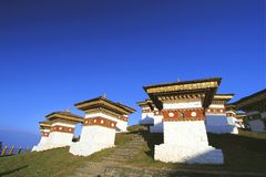 The 108 chortens stupas is the memorial in honour of the Bhuta stock image
