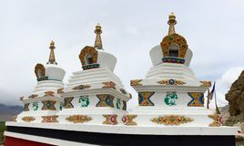 Chortens at Thiksay Monastery Royalty Free Stock Photography