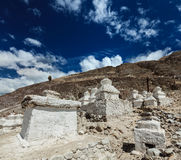 Chortens (Tibetan Buddhism stupas) in Himalayas. Nubra valley, L Stock Image