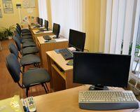 Computer class in rural school. Chortkiv - Ternopil - Ukraine - January 12, 2018. Computer class in the secondary school of the village of Svidova in Ukraine Stock Photos
