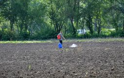 Anticipating the destruction of weeds. Chortkiv - Ternopil - Ukraine - May 2, 2018. On a farmland, a peasant with the help of a shredder using herbicides Royalty Free Stock Photography