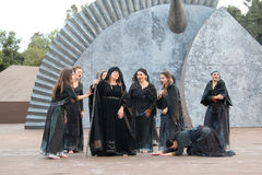 Chorus during a Greek tragedy representation royalty free stock photos