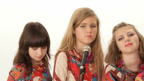 Chorus group of girls on vocals stock video