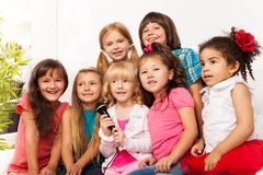 Chorus of kids sing Stock Photo