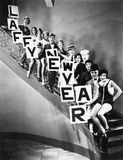 A chorus line standing on a curved stair case. (All persons depicted are no longer living and no estate exists. Supplier grants that there will be no model Stock Photos