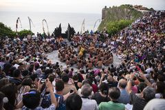 Balinese traditional dance, Kecak dance at Uluwatu temple, Bali, Indonesia stock image