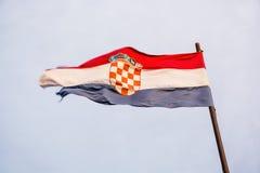 Chorwaci flaga w wiatrze Obraz Royalty Free