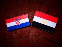 Chorwaci flaga z egipcjanin flaga na drzewnym fiszorku Obraz Stock