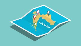 Chorwacja bada mapy z isometric stylu i szpilki lokaci etykietką na wierzchołku royalty ilustracja