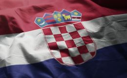 Chorwacja flaga Miętoszący zakończenie W górę obrazy royalty free
