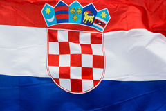 Chorwacja flaga w wiatrze w świetle słonecznym Zdjęcie Stock