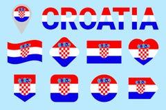 Chorwacja flaga wektoru set Różni geometryczni kształty Mieszkanie styl E Dla sportów, obywatel, podróż royalty ilustracja