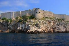 Chorwacja - fortyfikacje widzieć od Adriatyckiego morza Dubrovnik zdjęcie royalty free