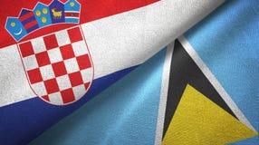 Chorwacja Lucia i święty dwa flagi tekstylny płótno, tkaniny tekstura ilustracja wektor