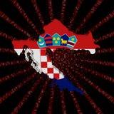 Chorwacja mapy flaga na czerwonej hex kodu wybuchu ilustraci Obrazy Stock