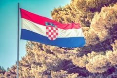 Chorwacki flaga państowowa słup Fotografia Royalty Free