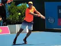 Chorwacki gracz w tenisa Borna Coric narządzanie dla australianu open Fotografia Stock