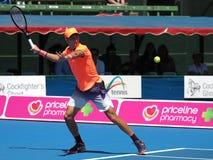 Chorwacki gracz w tenisa Borna Coric narządzanie dla australianu open przy Kooyong Obraz Royalty Free