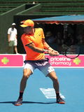 Chorwacki gracz w tenisa Borna Coric narządzanie dla australianu open w Melbourne Obraz Royalty Free