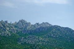 Chorwackie nabrzeżne góry blisko Zadar Obrazy Royalty Free