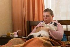 Chory facet z termometru lying on the beach w mieniu i łóżku gruby kot zdjęcia royalty free