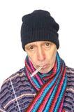 Chory mężczyzna na bielu Fotografia Royalty Free