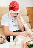 Chory nastolatek z termometrem Obrazy Stock