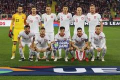 CHORZÓW, POLONIA - 11 DE OCTUBRE DE 2018: Liga 2019 de las naciones de la UEFA: Polonia - Portugal o/p Lukasz Fabianski, Artur Je imagen de archivo libre de regalías